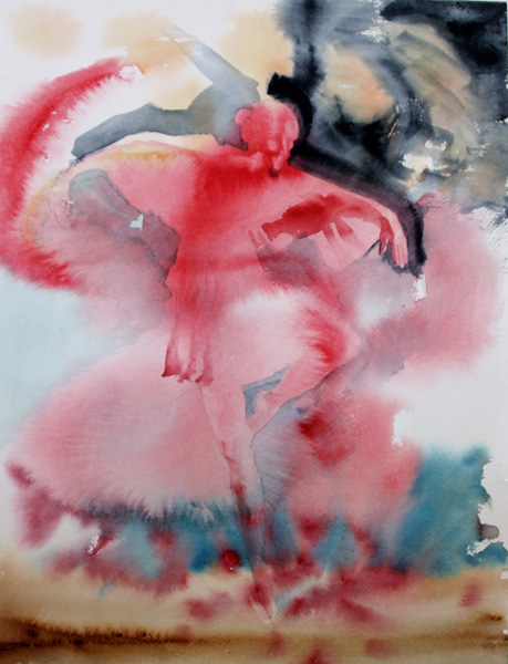 Holly Meeker Rom Ballerina In Red Watercolor