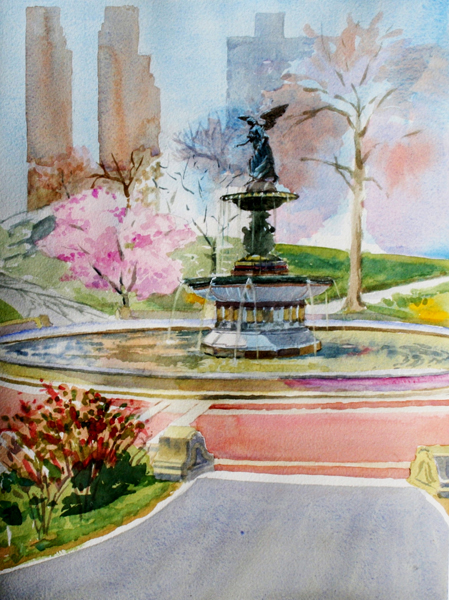 Bethesda FOuntain in Spring by Holly Meeker Rom